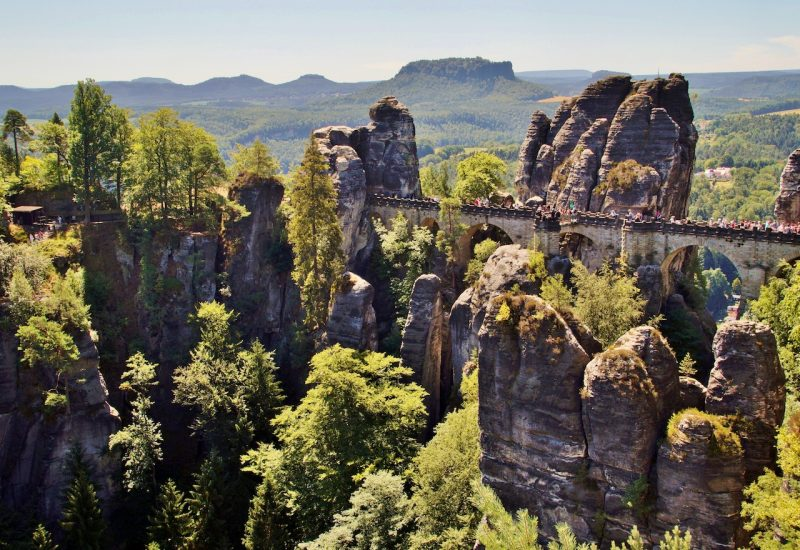 Panorama of bastei view bridge between rock formations in Bohemian Switzerland park