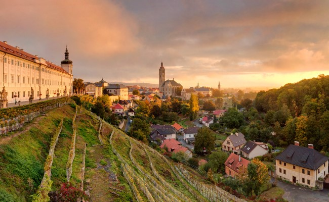 Kutna hora view of Old Town with church and vineyards under on private day trip from Prague