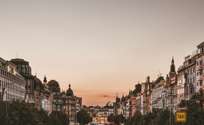 Top of the houses on Wenceslas square with empty sky