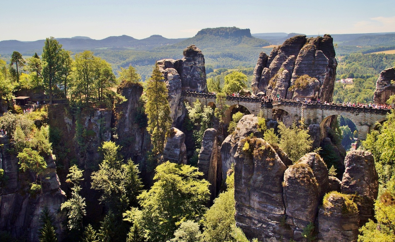 Bastei view bridge between rock formations in Bohemian Saxony Switzerland national park