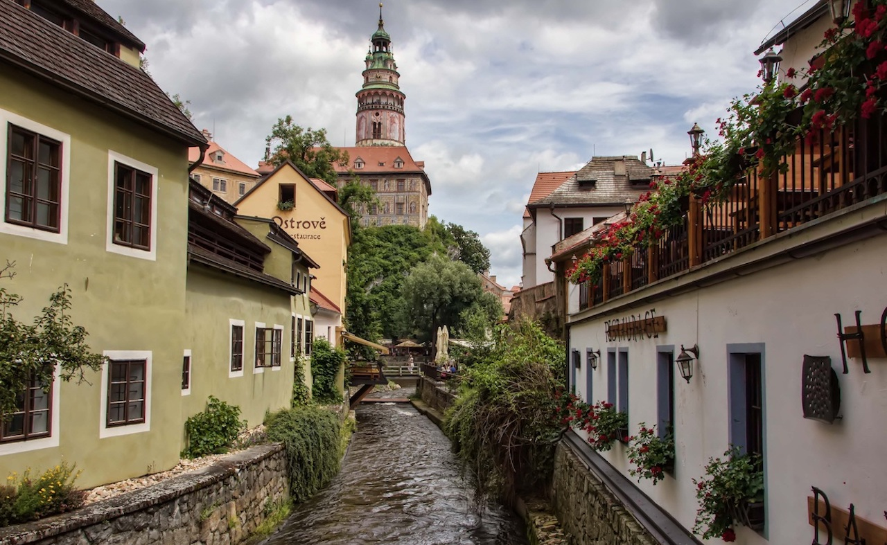 Cesky Krumlov Castle Tower above river in the old town on private day trip from Prague