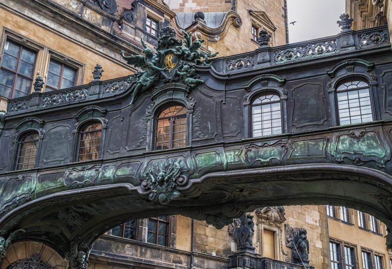 Dresden bridge between Old Town buildings