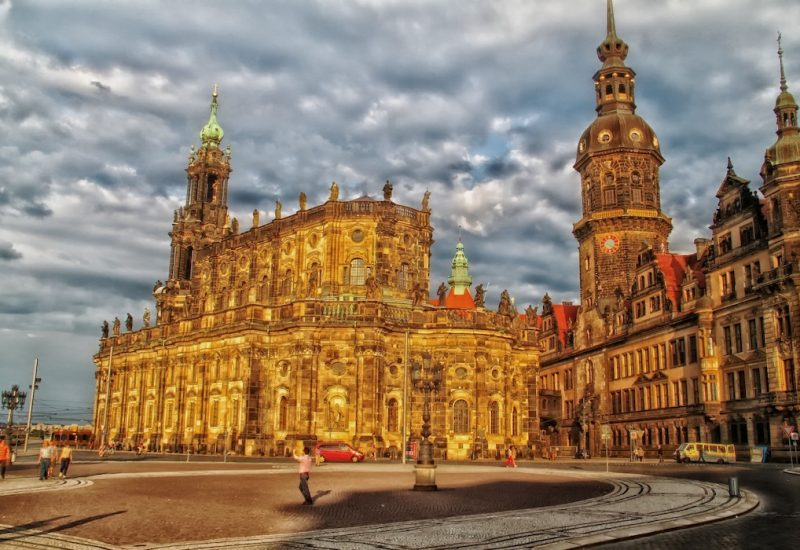 Dresden Old Town church by sunset
