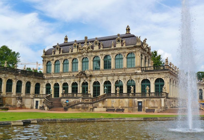 Zwinger Palace with fountain in Dresden
