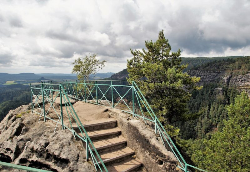 View terrace on rock formations in Bohemian Switzerland national park