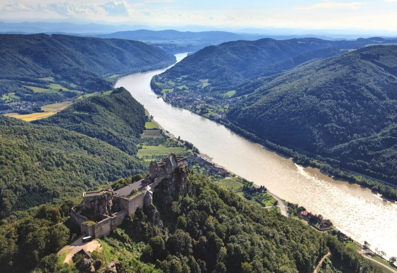Wachau Valley air picture with castle ruin on hill