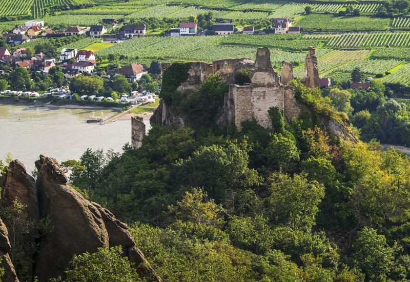 Wachau Valley castle ruin with view on the Danube
